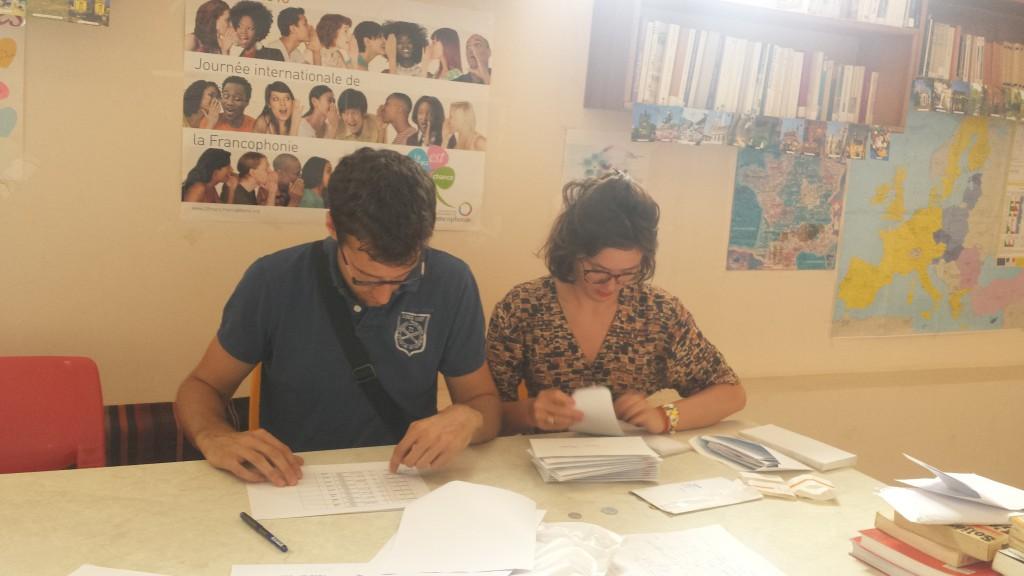Quentin et Hermine préparent les bourses